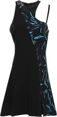 Versace Asymmetric Paneled Appliqued Crepe Mini Dress