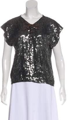 Gryphon Embellished Lace-Up Blouse
