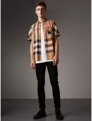 Burberry Short-sleeve Check Stretch Cotton Blend Shirt