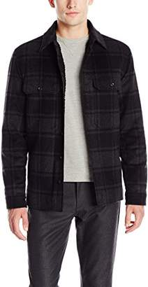 Vince Men's Wool Plaid Military Shirt Jacket