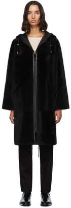 Yves Salomon Army Army Reversible Black Shearling Twill Parka