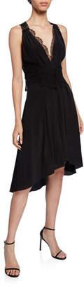 Victoria Beckham Lace-Trim High-Low Cocktail Dress