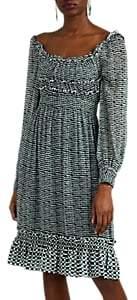 Proenza Schouler Women's Geometric Silk Chiffon Fit & Flare Midi-Dress - Blue