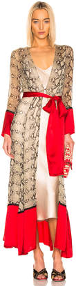 Leone We Are we are Contrast Maxi Cardigan in Python & Red | FWRD