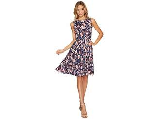 Adrianna Papell Printed Pleated Fit and Flare Dress Women's Dress