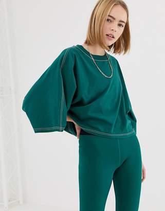 Ivy Park Stab Stitch Kimono Crop T-Shirt In Green