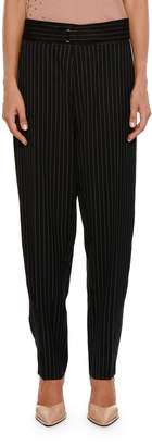 Stella McCartney Pinstripe Dropped-Inseam Pegged-Leg Pants