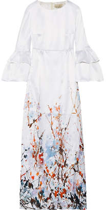 Merchant Archive - Printed Satin Gown - Ivory