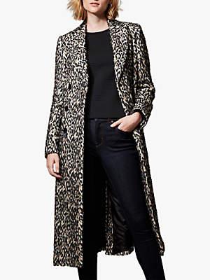 Long Tailored Coat, Leopard Print