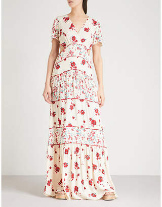 BA&SH Blush printed crepe maxi dress