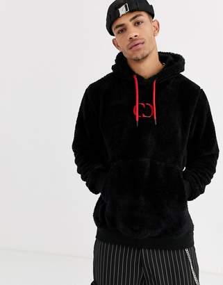 Criminal Damage fleece hoodie in black with red logo