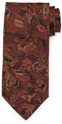 Salvatore Ferragamo Plume-Print Silk Tie, Magenta/Mustard