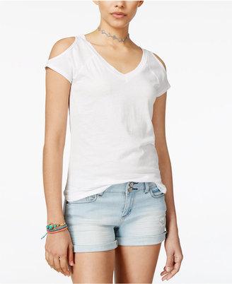 Planet Gold Juniors' Cold-Shoulder Burnout T-Shirt $24 thestylecure.com