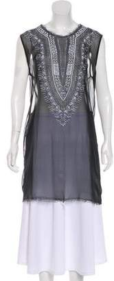 Raquel Allegra Silk Geometric Printed Sheer Tunic