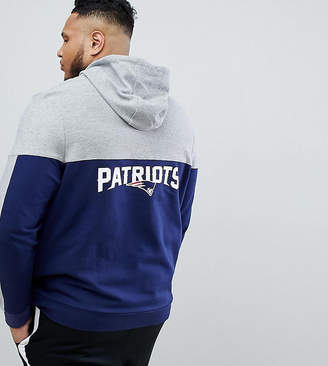 Majestic PLUS Patriots Chevron Panel Hoodie With Back Print In Navy