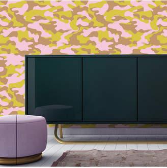 Cynthia Rowley Tempaper for Glammo Pink, Lemon & Gold Self-Adhesive Wallpaper