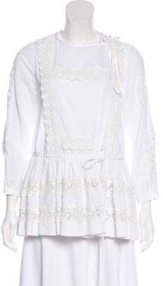 Givenchy Ruffled Lace-Trimmed Blouse w/ Tags