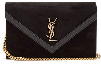 Saint Laurent Suede Cross Body Bag - Womens - Black