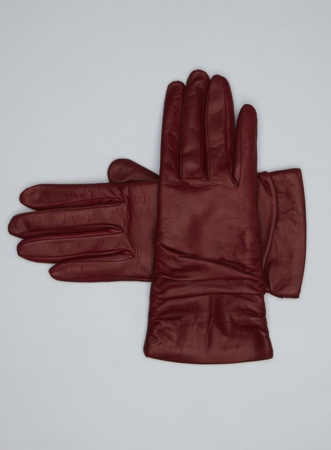 Portolano Ruched Cashmere Lined Leather Gloves