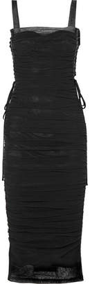 Dolce & Gabbana Lace-up Ruched Cotton-blend Tulle And Silk-satin Midi Dress - Black