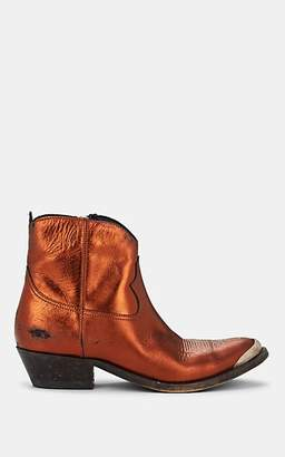 Golden Goose Women's Young Metallic Leather Ankle Boots - Rust