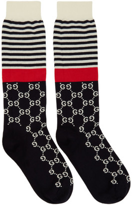 Gucci Navy and Red Striped GG Socks