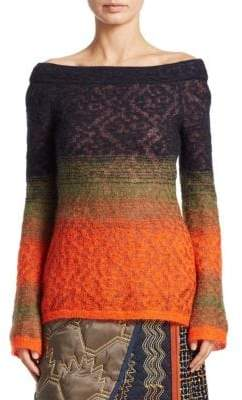 Peter Pilotto Lace Off-The-Shoulder Sweater