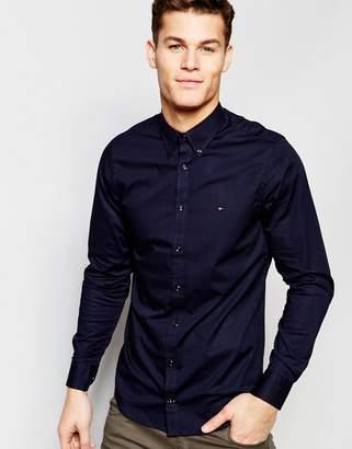 Tommy Hilfiger poplin shirt with stretch in slim fit in navy
