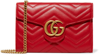 Gucci - Gg Marmont Quilted Leather Shoulder Bag - Red $1,300 thestylecure.com