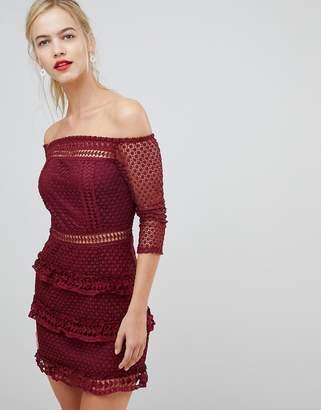Liquorish Off Shoulder Layered Lace Dress