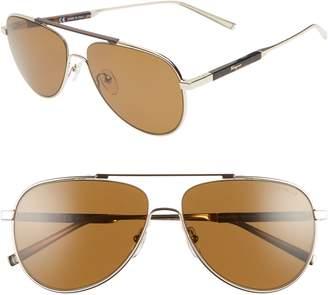 Salvatore Ferragamo Classic Logo 60mm Polarized Aviator Sunglasses