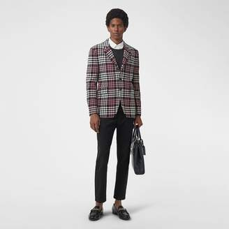 Burberry Slim Fit Tartan Technical Wool Tailored Jacket