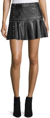Parker Cyrus Studded Leather Flounce Mini Skirt