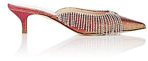 Area Women's Crystal-Embellished Lamé Mules - Silver