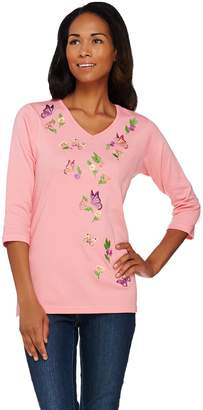 Factory Quacker Butterfly Bliss Embroidered 3/4 Sleeve T-shirt