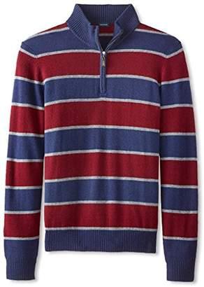 Thirty Five Kent Men's Wool/Cashmere Rugby Stripe Quarter Zip,M