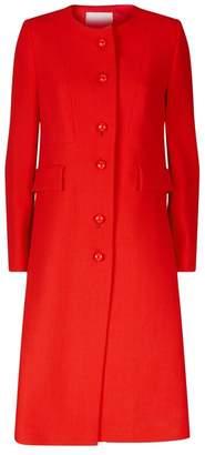 Goat Collarless Wool Coat