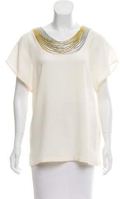 3.1 Phillip Lim Silk Metallic Embellished Top