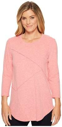 Mod-o-doc Marbled Jersey 3/4 Sleeve Asymmetrical Seamed Tee Women's T Shirt