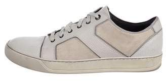 Lanvin Embossed & Suede Sneakers