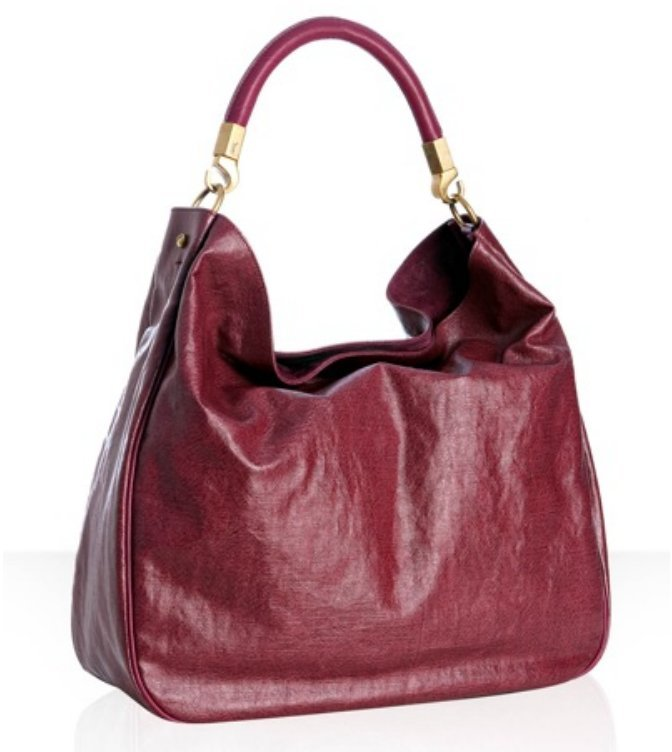 Yves Saint Laurent red coated canvas 'Roady' large hobo