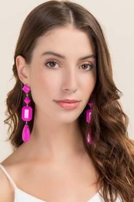 francesca's Amalfi Linear Drop Earrings - Fuchsia