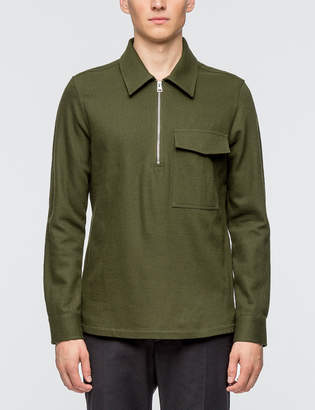 Ami Wide Fit Zipped Collar Shirt