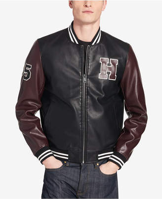 Tommy Hilfiger Men Faux-Leather Varsity Jacket