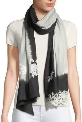 Bindya Ombre Lace-Trim Scarf, Black