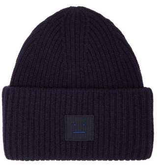 Acne Studios Pansy Ribbed Knit Wool Beanie Hat - Womens - Navy