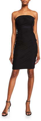 Herve Leger Tulle Banded Cross-Neck Dress