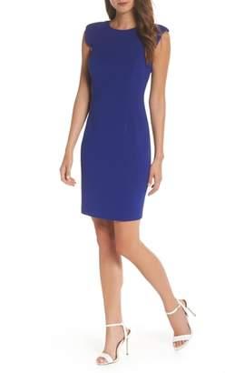 Eliza J Extended Shoulder Sheath Dress