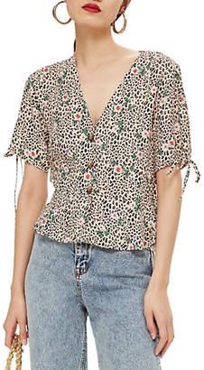 Topshop TALL Leopard Floral Print Short Sleeve Blouse