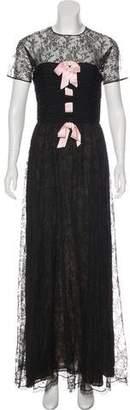 Oscar de la Renta Short Sleeve Lace Dress